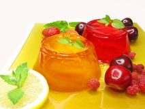 Jelly dessert with cherry strawberry and raspberry. Gelatin jelly desserts with strawberry raspberry and cherry stock photography