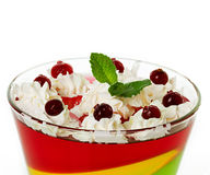 Jelly dessert. In glasses isolated on white stock photos