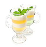Jelly dessert with mint leaves Royalty Free Stock Photo