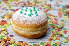 Jelly Donut and Confetti Royalty Free Stock Images