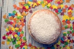 Jelly Donut and Confetti Stock Photos