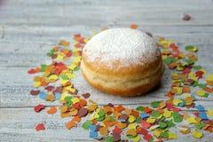 Jelly Donut and Confetti Stock Photo