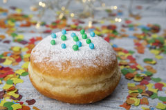 Jelly Donut and Confetti Royalty Free Stock Photography