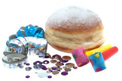 Jelly Doughnut with party decoration Royalty Free Stock Photography