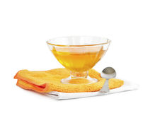 Jelly in drinking bowl on yellow napkin Royalty Free Stock Image