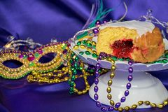 Jelly filled paczki with party beads Royalty Free Stock Images