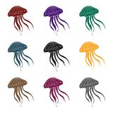Jelly fish icon in black style isolated on white background. Sea animals symbol stock vector illustration. Jelly fish icon in black design isolated on white Stock Photography