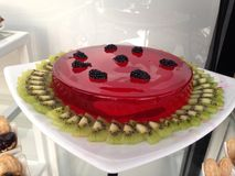 Jelly Fruit cake. On plate stock image