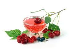 Jelly with fruits stock photo