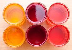 Jelly in glasses. Jelly in a glass on the table Royalty Free Stock Image