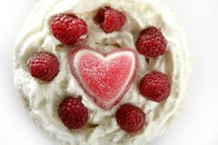 Jelly hearth cream cake with raspberries Royalty Free Stock Photo