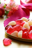 Jelly hearts with flowers sweet Vale Stock Photography