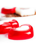 Jelly hearts in the form of a close-up. On a light background royalty free stock photo