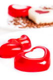 Jelly hearts in the form. On a light background royalty free stock photos