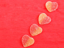 Jelly hearts four pieces Stock Photography