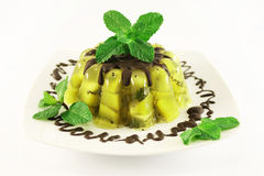 Jelly with kiwi fruit. Mint and chocolate Royalty Free Stock Photo