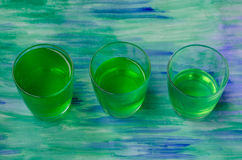 Jelly with kiwi fruit in three glasses Royalty Free Stock Photography