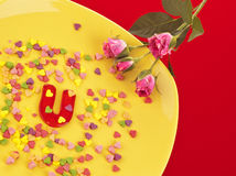Jelly letter on yellow plate Royalty Free Stock Photo