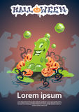 Jelly Monster Happy Halloween Party Invitation Card Royalty Free Stock Photography