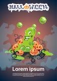 Jelly Monster Happy Halloween Party-Uitnodigingskaart Royalty-vrije Stock Fotografie