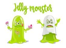 Jelly Monster verte mignonne avec le gâteau et les sucreries et comme le fantôme effrayant Photographie stock libre de droits