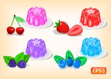 Jelly with multicolor and fragrant berries vector illustration