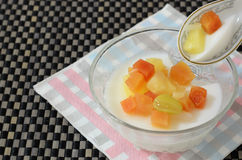 Jelly Pudding Fruit Salad Royalty Free Stock Photos