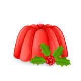 Jelly pudding and holly berry Royalty Free Stock Photos