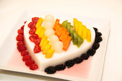 Jelly Pudding mixede Fruit Salad, dessert. Royalty Free Stock Images