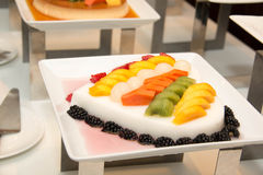 Jelly Pudding mixede Fruit Salad, dessert. Stock Images