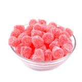 Jelly Raspberries i den glass bunken Royaltyfri Bild