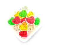 Jelly red green yello and white dessert Stock Photos