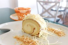 Cake roll or Swiss roll with cheese Stock Image
