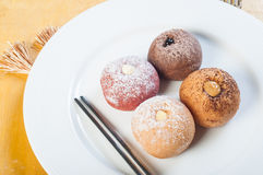 Jelly round donuts with flavored fillings Royalty Free Stock Image