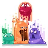 Jelly slime monster creatures group set. Illustration royalty free illustration