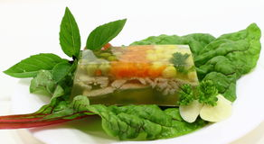 Jelly snack with vegetables and poultry Stock Image