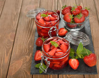 Jelly with strawberries Stock Photos