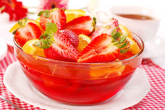 Jelly with strawberry and orange Royalty Free Stock Image