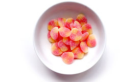 Jelly sugar in the white bowl Royalty Free Stock Image
