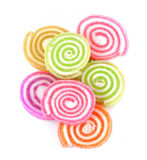 Jelly sweet,candy dessert colorful on sugar  on white background Stock Image