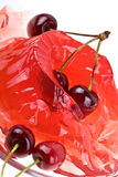 Jelly sweet cherry background stock images