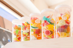 Jelly sweet, flavor fruit, candy dessert colorful on sugar Royalty Free Stock Photography