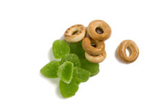 Jelly sweets and bread-ring Stock Photos