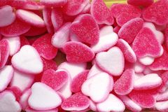 Jelly sweets candy pink white heart shape Stock Photos