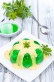 Jelly (Woodruff taste) with Vanilla Sauce Stock Photography