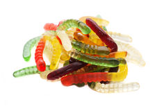 Jelly worms. Colorful  jelly worms snakes isolated on white Royalty Free Stock Photography