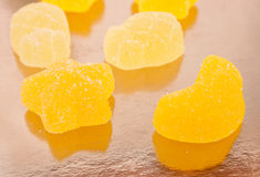 Jelly yellow candies covered with sugar Royalty Free Stock Photography