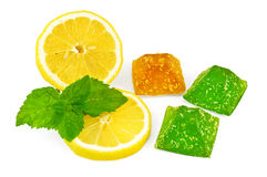 Jelly yellow and green with lemon and mint stock photos