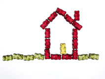 Jellybabies formed as a house Stock Photography
