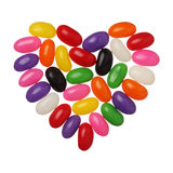 Jellybeans heart isolated on white background, close up Stock Photos